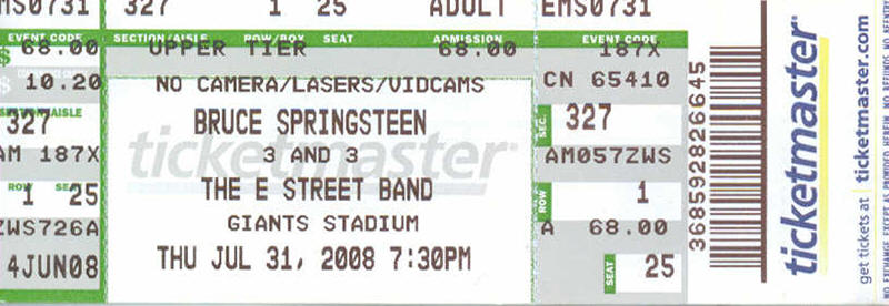 Ticket stub for the 31 Jul 2008 show at Giants Stadium, East Rutherford, NJ