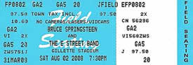 Ticket stub for the 02 Aug 2008 show at Gillette Stadium, Foxborough, MA