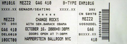 Ticket stub for the 16 Oct 2008 show at Hammerstein Ballroom, New York City, NY
