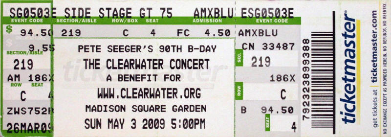 Ticket stub for the 03 May 2009 show at Madison Square Garden, New York City, NY
