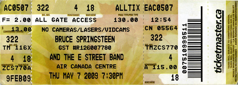 Ticket stub for the 07 May 2009 show at Air Canada Centre, Toronto, Canada