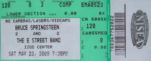 Ticket stub for the 23 May 2009 show at Izod Center, East Rutherford, NJ