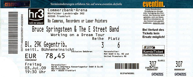 Ticket stub for the 03 Jul 2009 show at Commerzbank-Arena, Frankfurt, Germany