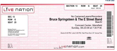 Ticket stub for the 23 Aug 2009 show at Comcast Center, Mansfield, MA