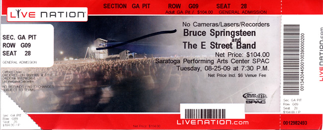 Ticket stub for the 25 Aug 2009 show at Saratoga Performing Arts Center, Saratoga Springs, NY