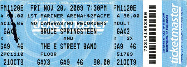 Ticket stub for the 20 Nov 2009 show at 1st Mariner Arena, Baltimore, MD