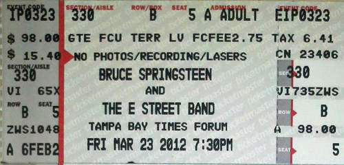 Ticket stub for the 23 Mar 2012 show at Tampa Bay Times Forum, Tampa, FL