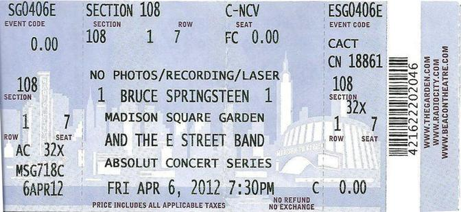 Ticket stub for the 06 Apr 2012 show at Madison Square Garden, New York City, NY