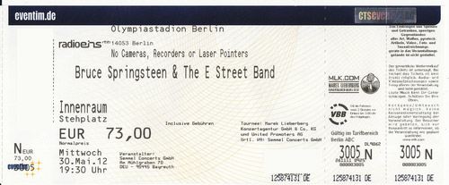 Ticket stub for the 30 May 2012 show at Olympiastadion, Berlin, Germany