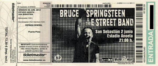 Ticket stub for the 02 Jun 2012 show at Estadio Anoeta, Donostia-San Sebastian, Spain