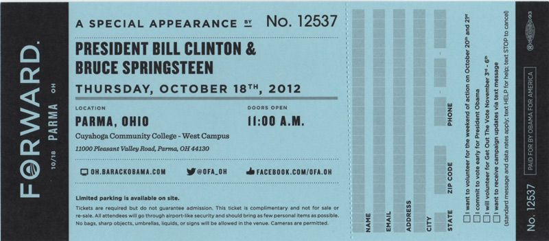 Ticket stub for the 18 Oct 2012 show at Cuyahoga Community College, Parma, OH