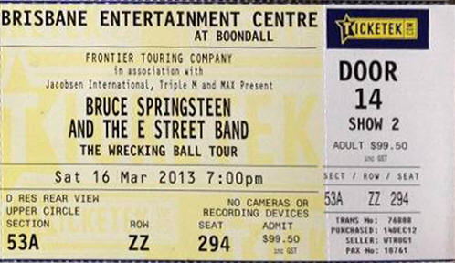 Ticket stub for the 16 Mar 2013 show at Brisbane Entertainment Centre, Brisbane, Australia