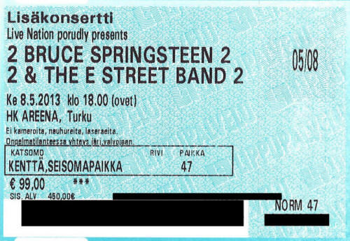 Ticket stub for the 08 May 2013 show at HK Areena, Turku, Finland