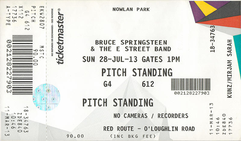 Ticket stub for the 28 Jul 2013 show at Nowlan Park, Kilkenny, Ireland