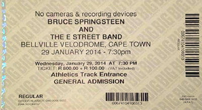 Ticket stub for the 29 Jan 2014 show at Bellville Velodrome, Cape Town, South Africa