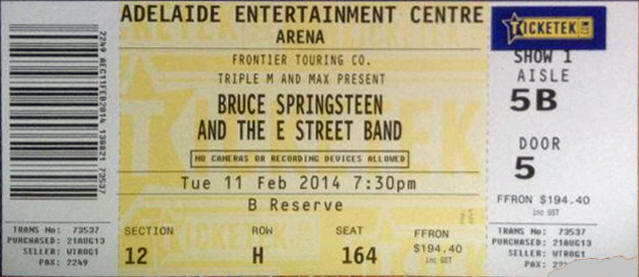 Ticket stub for the 11 Feb 2014 show at Adelaide Entertainment Centre, Adelaide, Australia