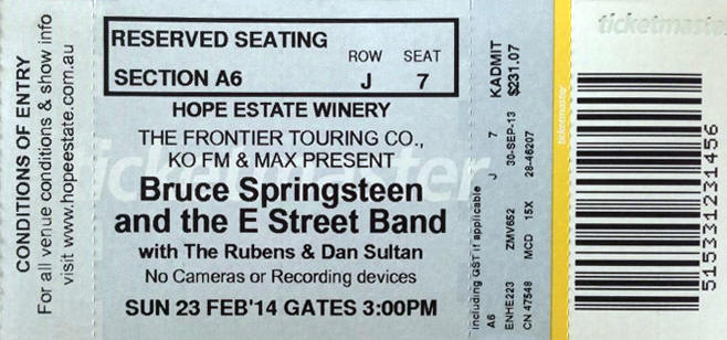 Ticket stub for the 23 Feb 2014 show at Hope Estate, Hunter Valley, Australia