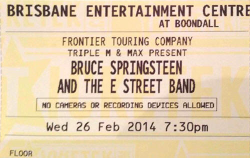 Ticket stub for the 26 Feb 2014 show at Brisbane Entertainment Centre, Brisbane, Australia