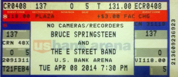Ticket stub for the 08 Apr 2014 show at U.S. Bank Arena, Cincinnati, OH
