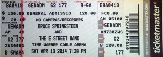 Ticket stub for the 19 Nov 2014 show at Time Warner Cable Arena, Charlotte, NC