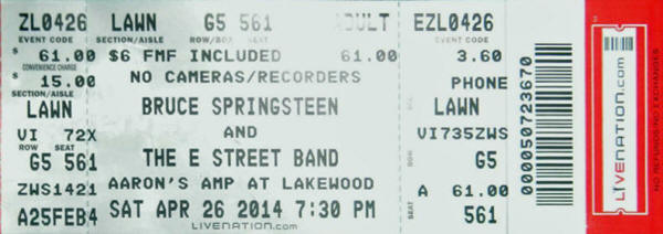 Ticket stub for the 26 Apr 2014 show at Aaron's Amphitheatre At Lakewood, Atlanta, GA