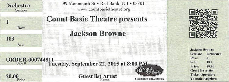 Ticket stub for the 22 Sep 2015 show at Count Basie Theatre, Red Bank, NJ