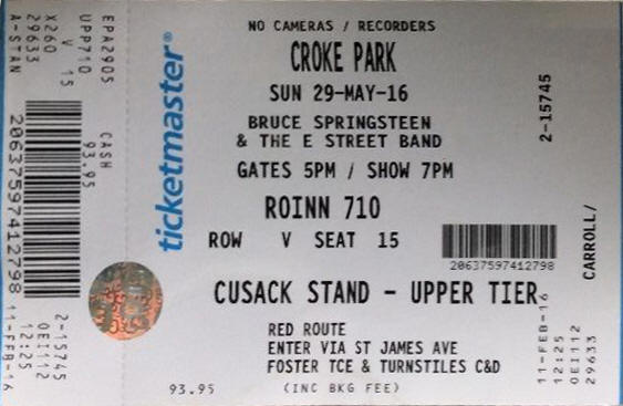 Ticket stub for the 29 May 2016 show at Croke Park, Dublin, Ireland