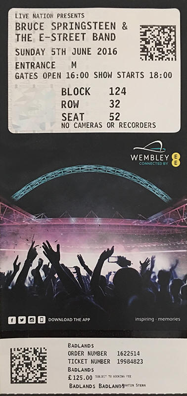 Ticket stub for the 05 Jun 2016 show at Wembley Stadium, London, England