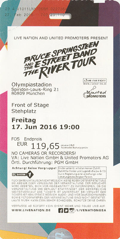 Ticket stub for the 17 Jun 2016 show at Olympiastadion, Munich, Germany