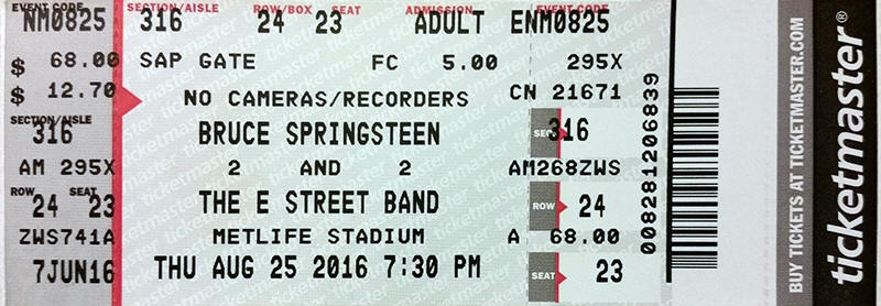 Ticket stub for the 25 Aug 2016 show at Metlife Stadium, East Rutherford, NJ