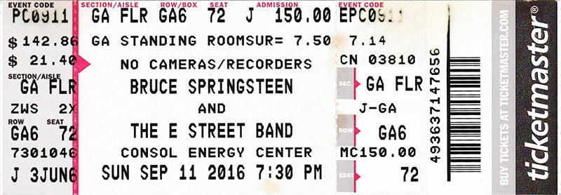 Ticket stub for the 11 Sep 2016 show Consol Energy Center, Pittsburgh, PA