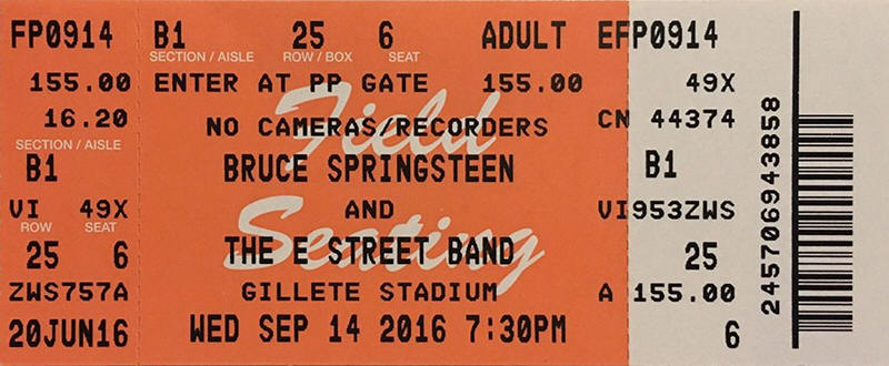 Ticket stub for the 14 Sep 2016 show at Gillette Stadium, Foxborough, MA